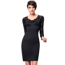 Kate Kasin Long Sleeve Lace+Healthy Cloth Short Black Cocktail Dress KK000207-1