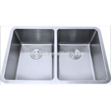 Undermount stainless steel sink basin with two bowl