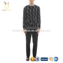 Round Neck Men's intarsia Argyle Sweater Knitting Pattern Sweater