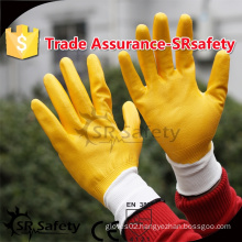 SRSAFTY 13 gauge knitted nylon coated nitrile gloves/chemical resistant safety working gloves