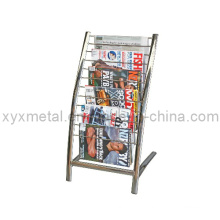 Piso de metal com metal para exibição de jornal Stand Rack