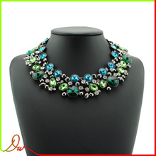modern style newest best quality blue and green stone fashion fine costume jewelry wholesale necklace