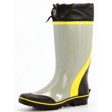 gray&yellow men's sweat-absorbent lining rubber boots