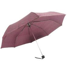 3fach zurück klappbarer Sonnenschutz Punkt roter Polyester manuell geöffneter Regenschirm