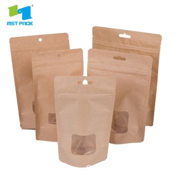 Bolsa de papel Kraft Custom Window Stand Up Bag