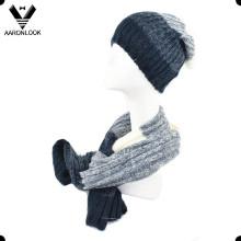 Unisex moda inverno malha cachecol beanie conjunto