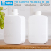 QB-D500 matt finish white plastic 28/410 soft squeezable 500ml square pe bottles
