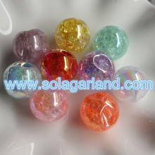 22MM Acrylic Round UV Color Bead Pendants Charms With 4MM Offset Hole