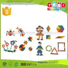 Descuentos promocionales gabe juguetes parquetry tabletas OEM madera piezas coloridas gabe juguetes