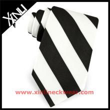 Seide Woven Mens Krawatte Schwarz-Weiß-Streifen