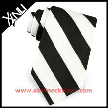 Silk Woven Mens Tie Black and White Stripe