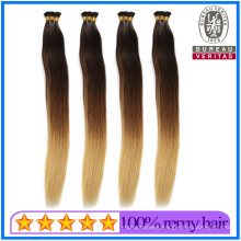 Best Quality Wholesale Human Hair Virgin Hair Remy Hair 24 Inch Pre Bonded I Tip Hair with Ombre Color