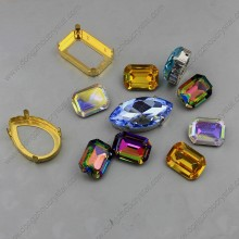 Crystal Loose Stones Octagon Shape Withgolden Claw Settings