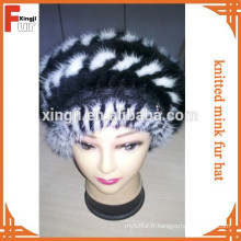 Chapeau de fourrure de vison tricoté teinté de qualité supérieure