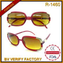 R-1460 Ladies Novelty Fashionable Slim Bifocal Sun Reader with Metal Decorations