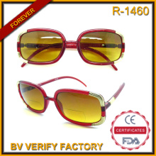 R-1460 Ladies Novelty Fashionable Slim Bifocal Sun Reader with Metal Decorations