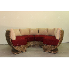 Exclusivo Hot Trendy diseño Hyacinth agua redonda sofá conjunto para sala de estar interior Muebles de mimbre natural