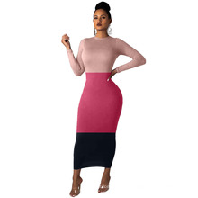 Ready to Ship Fall Autumn Bodycon Sexy Fashion Patchwork Maxi Long Casual Sleeves Long Skirt Casual Women Dress