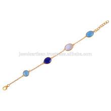 18K Gold überzogenes silbernes Armband mit blauem Onyx, Lapis und Regenbogen