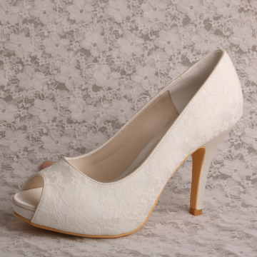 Peep Toe Bridal Shoes Lace dengan Platform