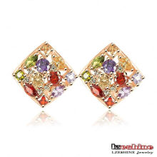 Gold Plated Multicolor Zircon Square Stud Earrings (ER0135-C)