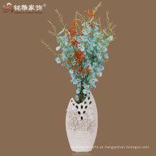 Vaso de porcelana de design elegante de cor branca para ornamento de interiores