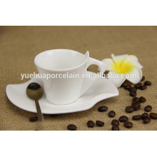 white porcelain mini antique coffee tea cup with handle and saucer