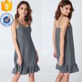Жабо оборками спагетти ремень Серебряный мини летнее платье Производство Оптовая продажа женской одежды (TA0313D)