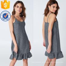 Rüschen Rüschen Spaghetti Strap Silber Mini Sommerkleid Herstellung Großhandel Mode Frauen Bekleidung (TA0313D)