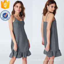 Frill Ruffled Spaghetti Strap Silver Mini Summer Dress Manufacture Wholesale Fashion Women Apparel (TA0313D)