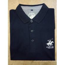 Camisas polo masculinas com bordado sólido de piquê de manga curta