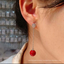 Korean Star with Simple Sweet Silver Pearl Earrings CZ