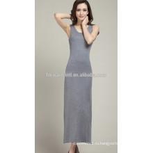 Новый Осень 2014 женщин горячей продажи o-образным вырезом без рукавов кашемир длинный короткий платье