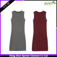 16FZSW04 Frauenkleiderkabel strickte Wollstrickjackendesign für Mädchen