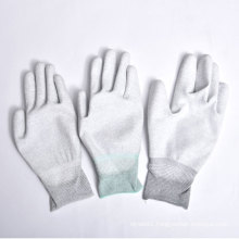 Nylon/Polyester Gloves PU Coating on Palm and Fingers with Ce
