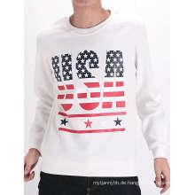 Weiße Siebdruck Mode Custom Baumwolle Langarm Herren T-Shirt