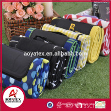 Yellow Check pattern polar fleece waterproof picnic blanket