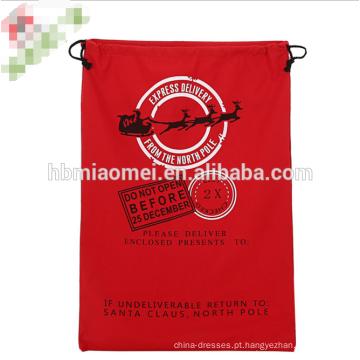 2017 novo design saco de Papai Noel Saco de Cordão de Lona Pesada Orgânica xmas crianças Sacos de Presente de Natal Saco de Papai Noel