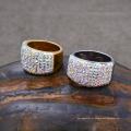 Argila de cristal de aço inoxidável pavimentada Shamballa Wedding Band Ring