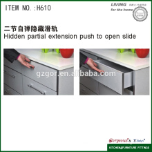 two-section hidden soft closing rebound slide for kitchen hardware