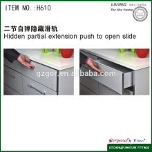 Slide de recuperação de fechamento suave escondido de duas seções para hardware de cozinha