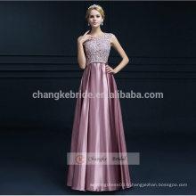 A-Line Appliques Pattern Long Robe demoiselle d'honneur en mousseline de soie Legant Evening Dress