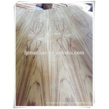 La madera contrachapada de lujo de la teca de 3.2mm Birmania / la flor cortó el chapeado de la chapa de la teca / la madera contrachapada de la chapa de la ceniza