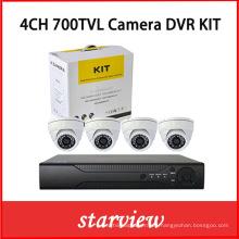 4CH DVR Kits + 700tvl Sony CCD cámaras domo de interior