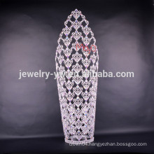 "Gorgeous 30"" large tall beauty pageant crown with ab crystal pageant round crowns"