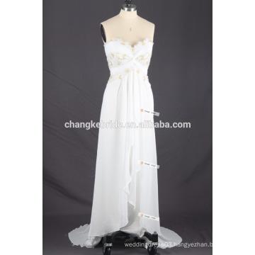 Lace Detailed Bodice Strapless Ruffled Long Beach Wedding Dress