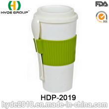 Taza de café plástica práctica aislada con la cuchara (HDP-2019)
