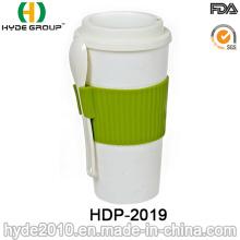 Copo de café plástico prático isolado com colher (HDP-2019)