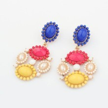 Elegant Design Hot sale metal flower Alloy Drop Earrings with resin and pearl inlaid Bohemia style jewelry