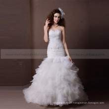 Gorgeous Sweet Heart Pleated Beaded Ruffle Wedding Dress Chapel Train